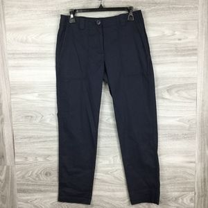 Nordstrom Navy Stretch Cotton & Linen Ankle Pants
